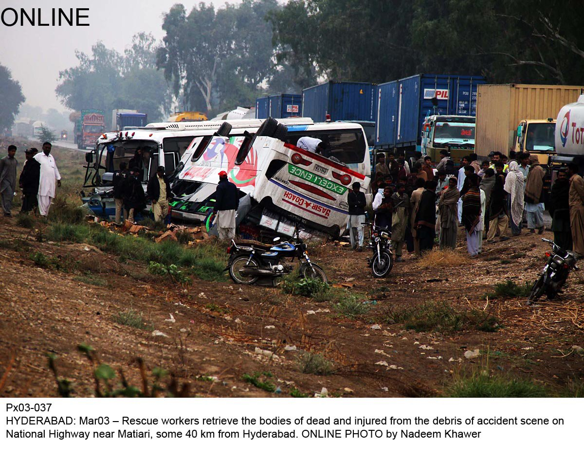 quot national highway and korangi industrial area are considered to be the most dangerous roads with 50 fatal incidents in 2013 quot former ig asad jahangir photo online file