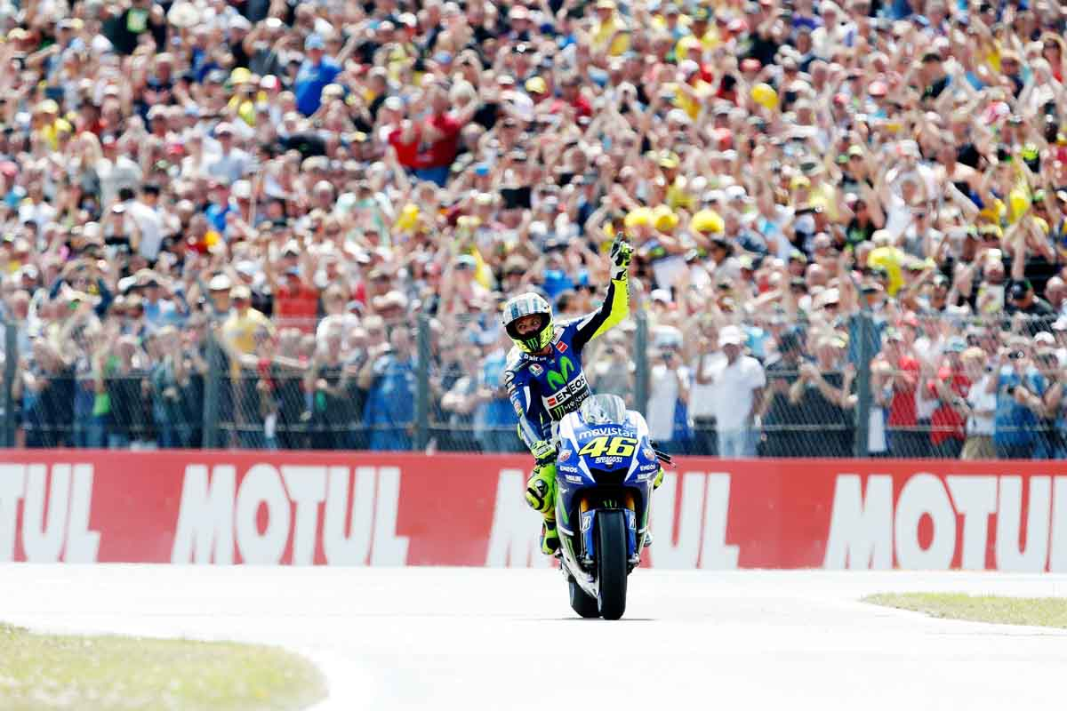 italian rider valentino rossi celebrates his victory during the dutch motogp race in assen on june 27 2015 photo afp