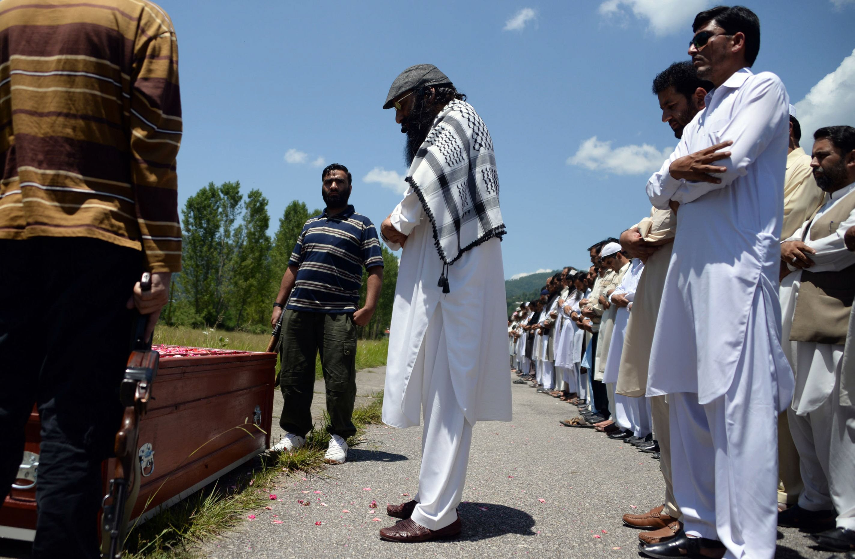 syed salahudeen leads prayers for waheed noor khan in rawalakot photo afp