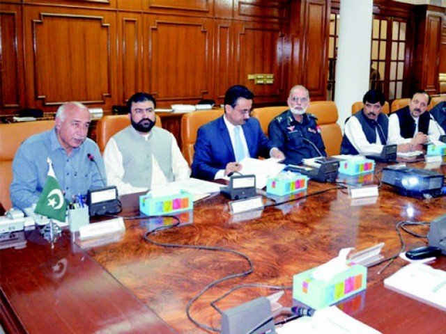 cm balochistan dr abdul malik baloch l chairing the meetin gof the provincial apex committee on friday photo naseem james express