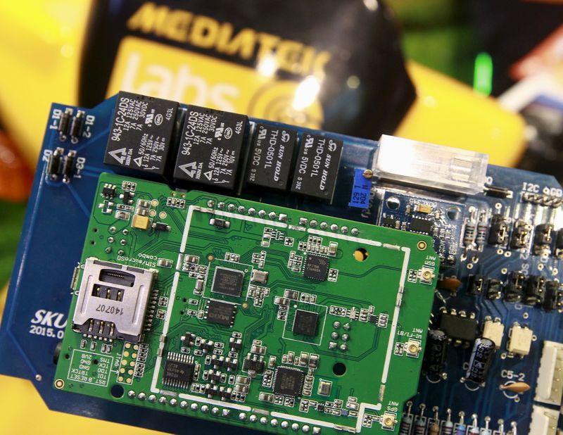 mediatek chips are seen on a development board at the mediatek booth during the 2015 computex exhibition in taipei taiwan june 3 2015 photo reuters