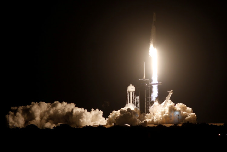 spacex rocketship launches astronauts on nasa mission to space station