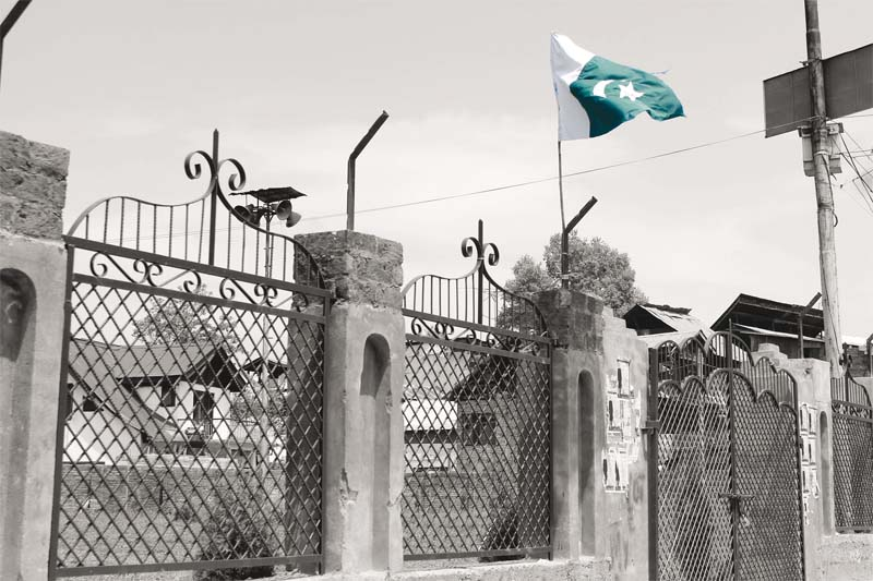 in old barzulla srinagar which is considered a hotbed of pro freedom activities and geelani s supporters two pakistan flags always remain hoisted in a public park photo haziq qadri