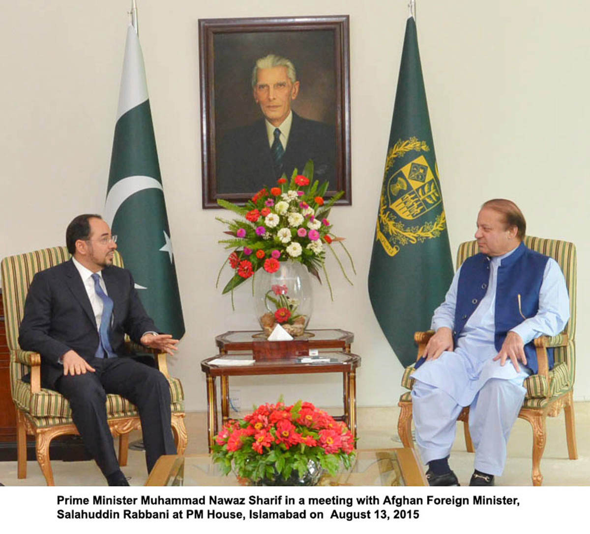 Prime Minister Nawaz Sharif meets Afghan Foreign Minister Salahuddin Rabbani at the PM House in Islamabad on August 3, 2015. PHOTO: PID