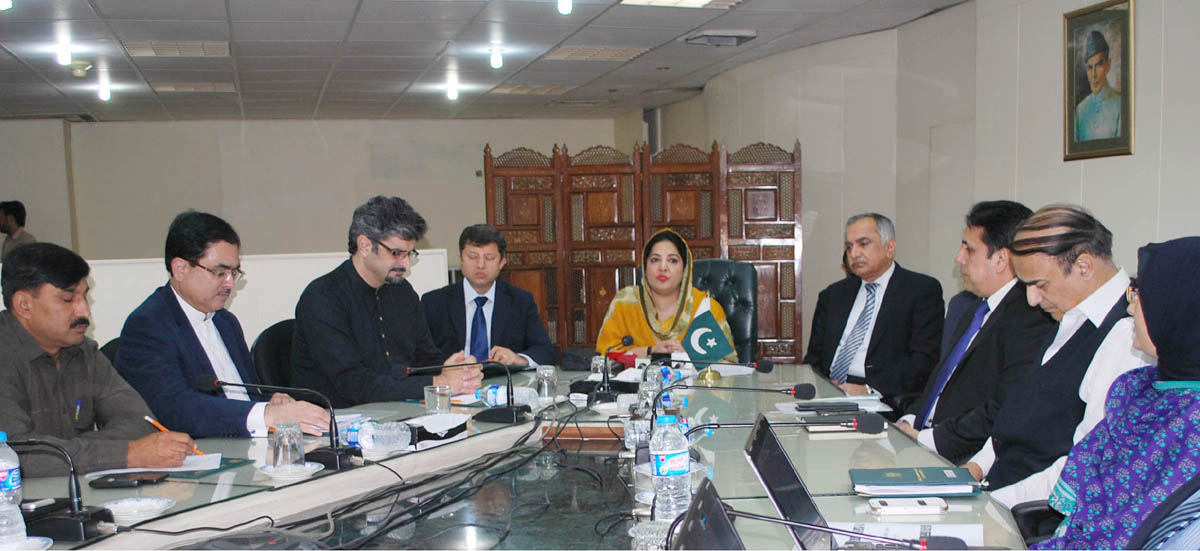 minister of it and telecommunication anusha rehman addressing the media about the e office in islamabad on september 4 2015