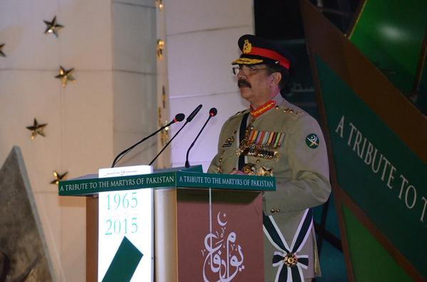 Army chief General Raheel Sharif addresses the Defence Day ceremony at the GHQ in Rawalpindi on September 6, 2015. PHOTO: ISPR