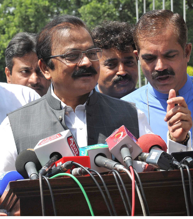 Law Minister Rana Sanaullah talking to media at Assembly session. PHOTO: ONLINE