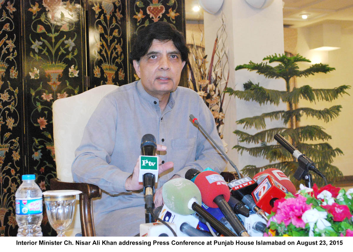 Interior Minister Chaudhry Nisar addresses a press conference at Punjab House in Islamabad on August 23, 2015. PHOTO: PID