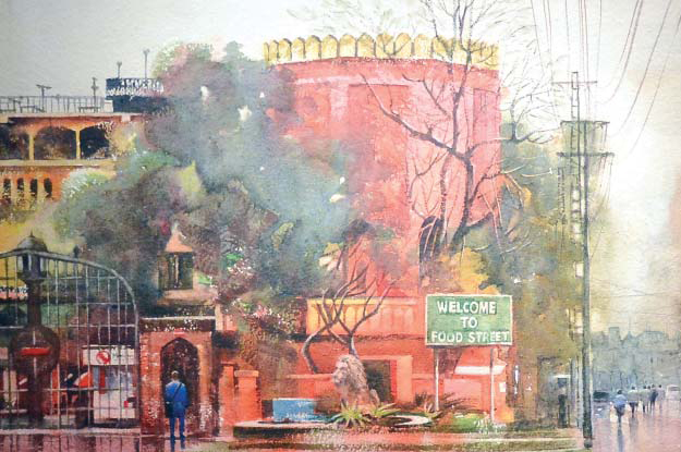 Watercolours on grain paper depict different scenes of old Lahore including streets, buildings and people. PHOTO: EXPRESS