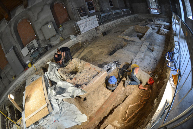 "A file picture taken on July 17, 2012 shows archaeologists working on the third excavation of a grave inside the medieval Convent of Saint Ursula in Florence on July 17, 2012, during research focusing on the burial site of Lisa Gherardini, wife of the wealthy Florentine silk merchant Francesco del Giocondo, the model who inspired Leonardo da Vinci's painting ""The Mona Lisa"""