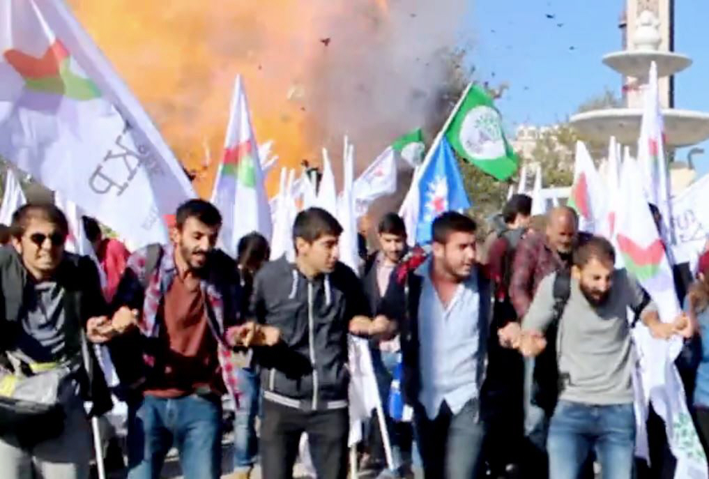 """This video grab image taken from footage made avaliable by local source """"Dokuz8 Haber"""" shows the moment an explosion ripped through a gathering ahead of a planned peace rally in Ankara on October 10, 2015. PHOTO: AFP"""