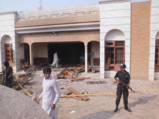 a view of the political office of pml n mna sardar amjad farooq khan khosa after a suicide attack was carried out on october 14 2015 photo express
