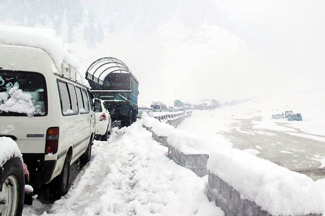 vehicles are seen stranded in naran valley of khyber pakhtunkhwa on october 26 2015 photo online