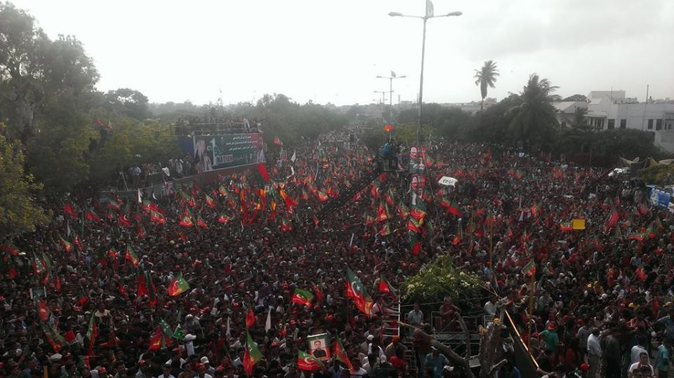 32.5% of the respondents said they would vote for Imran Khan's PTI if elections are held tomorrow PHOTO: PTI