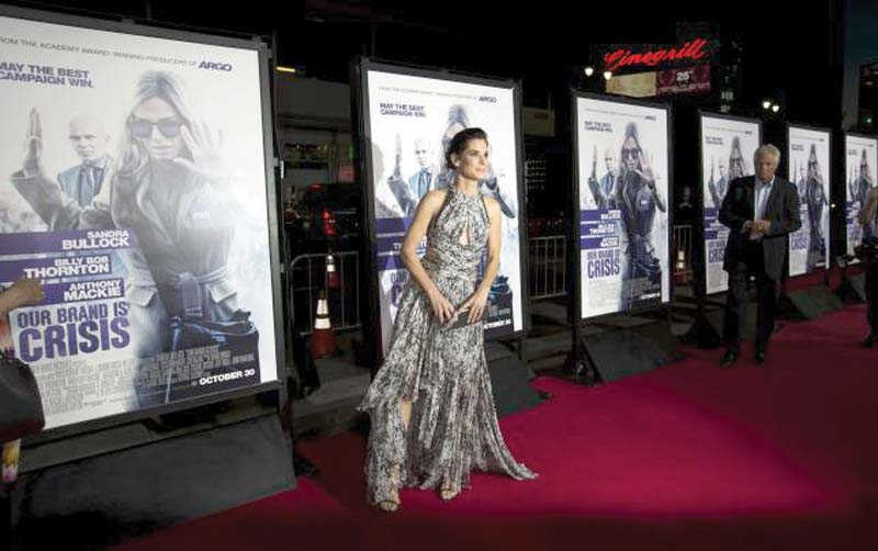 Actor Sandra Bullock poses at the premiere of 'Our Brand Is Crisis' in Hollywood, California. PHOTO: REUTERS