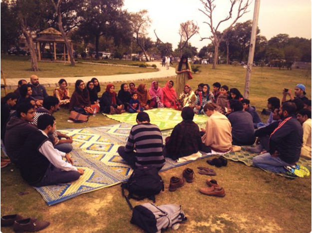 AWP and Girls at dhabas dialogue on women and public space underway in F-7 Islamabad. PHOTO: Twitter/ @AWPislamabad