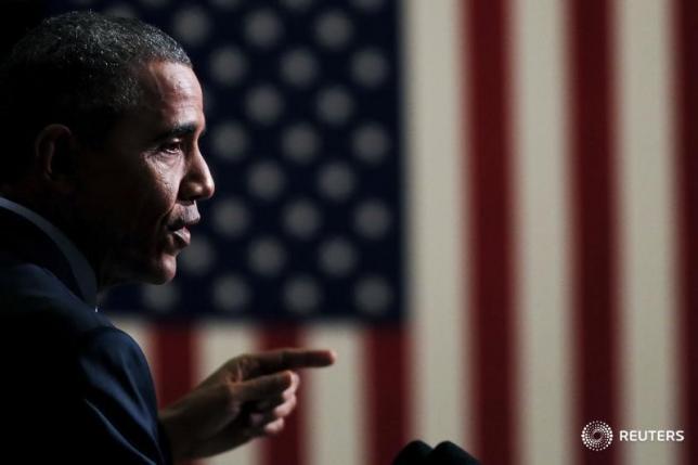 U.S. President Barack Obama in Newark, New Jersey, November 2, 2015. PHOTO: REUTERS/CARLOS BARRIA