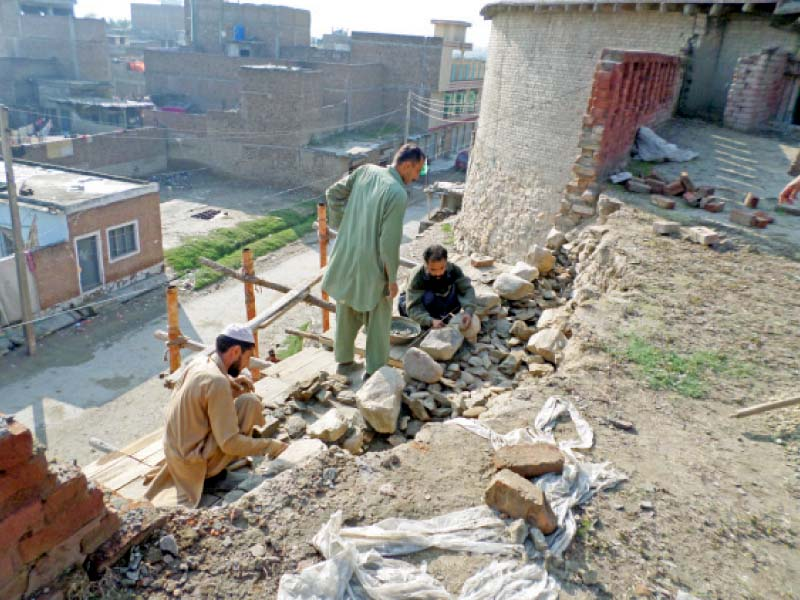 reconstruction work at the fort photo mureeb mohmand express