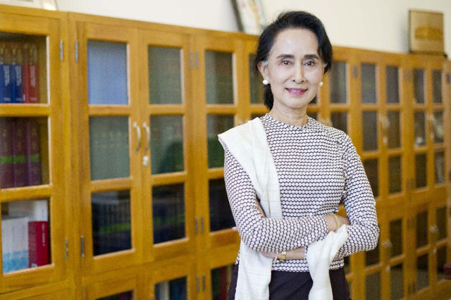 Aung San Suu Kyi , chairperson of the National League for Democracy (NLD), poses for a photograph during an interview at Parliament in Naypyidaw on August 25, 2015. PHOTO: AFP