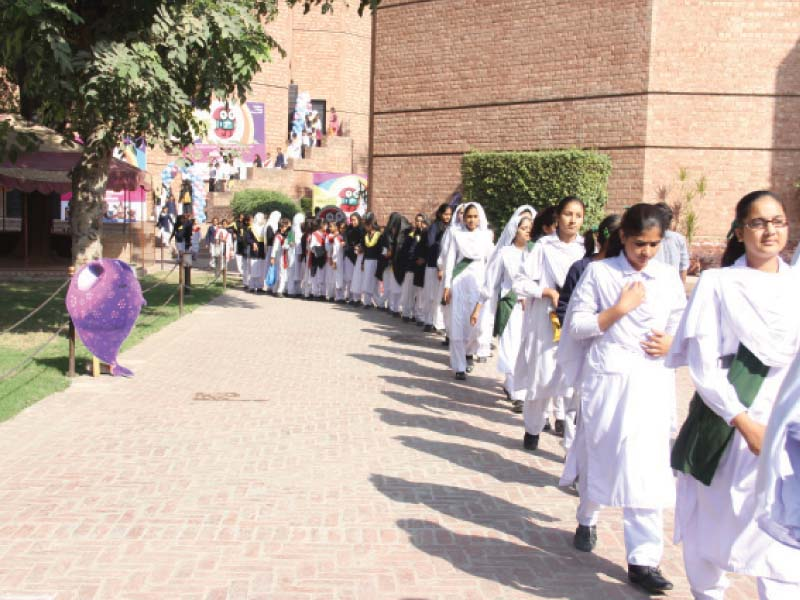 children walk out of the hall after a movie screening photo ayesha mir expess