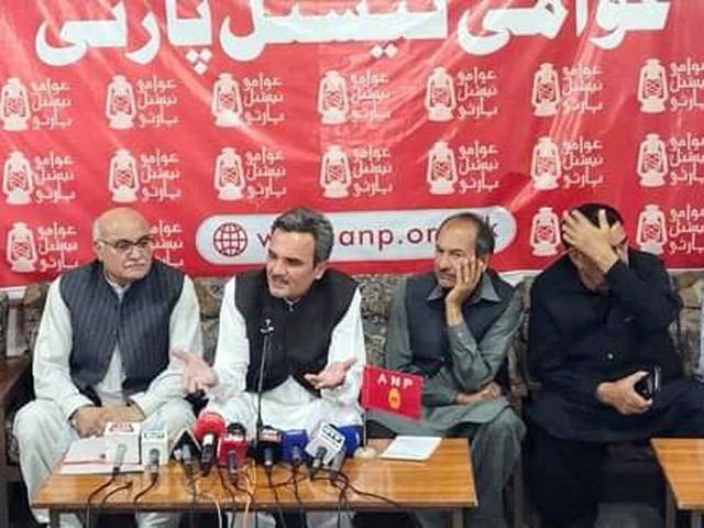 awami national party leaders announce quitting the anti government opposition alliance the pakistan democratic movement at a press conference in peshawar photo express
