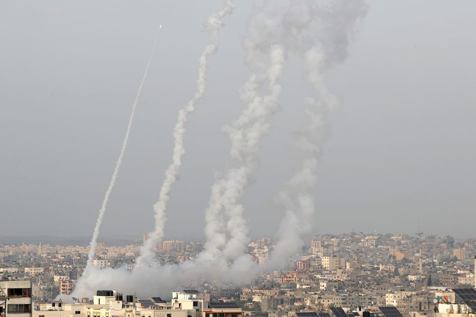 Rockets are launched by Palestinian militants into Israel, in Gaza May 10, 2021. PHOTO: REUTERS