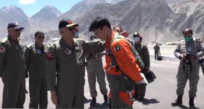 Chief of Air Staff visits PAF Base, Qadri at Skardu in Gilgit-Baltistan. SCREENGRAB