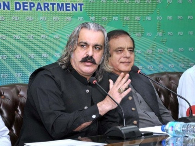 federal minister for kashmir affairs and gilgit baltistan ali amin gandapur along with federal minister for information shibli faraz addresses press conference photo app
