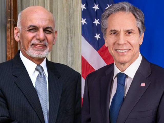 afghan president ashraf ghani and us secretary of state antony blinken photo file