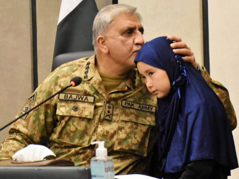 chief of army staff coas general qamar javed bajwa meets with the families of the machh victims in quetta on january 13 2021 photo ispr