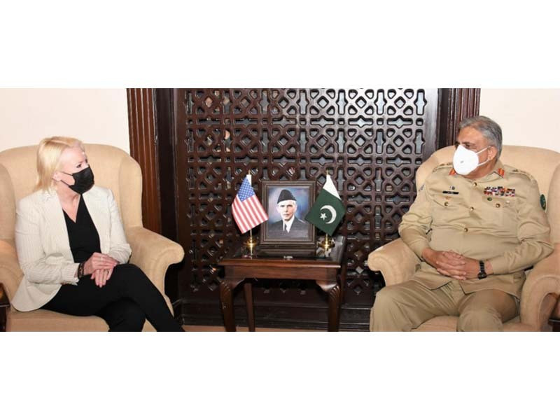 angela ageler us charge d affairs to pakistan called on chief of army staff general qamar javed bajwa photo ispr