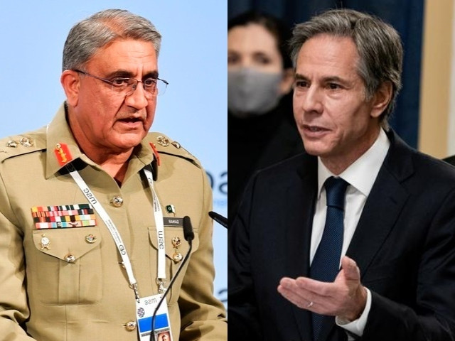 during the meeting chief of army staff general qamar javed bajwa and us secretary of state antony j blinken disuccsed regional security situation including latest developments in afghan peace process photo express file