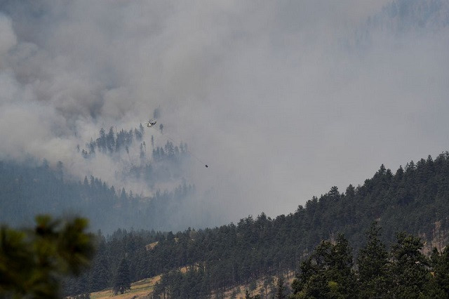 A view shows a wildfire burning outside of the town of Lytton, where a wildfire raged through and forced residents to evacuate, near Lytton, British Columbia, Canada July 1, 2021. PHOTO: REUTERS