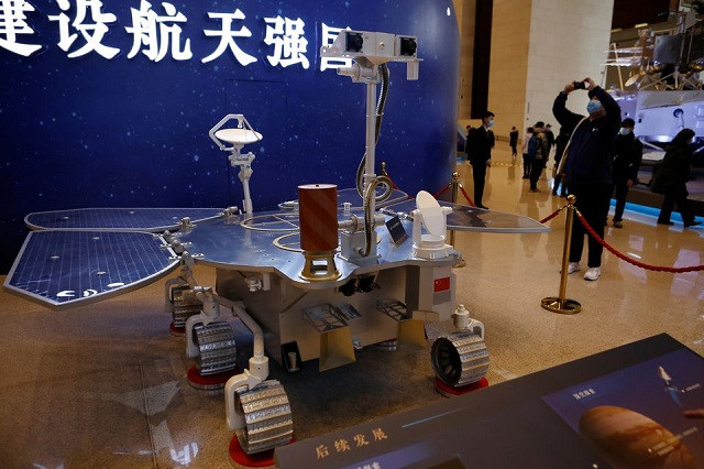 A replica of the Tianwen-1 Mars rover is displayed during an exhibition inside the National Museum in Beijing, China March 3, 2021. PHOTO: REUTERS