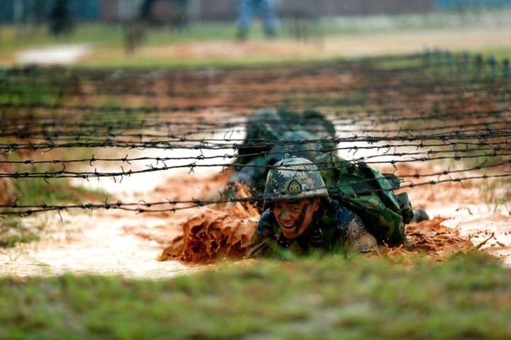 Chinese marines train in Guangdong province in southern China in 2017. REUTERS