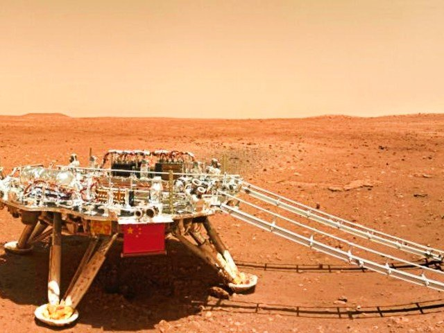 Photo released on June 11, 2021 by the China National Space Administration (CNSA) shows the landing platform of China's first Mars rover Zhurong. PHOTO: XINHUA