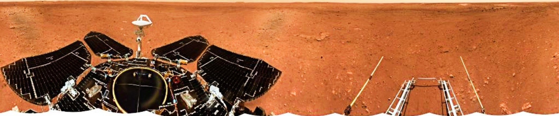 Photo released on June 11, 2021 by the China National Space Administration (CNSA) shows the landing site panorama. PHOTO: XINHUA