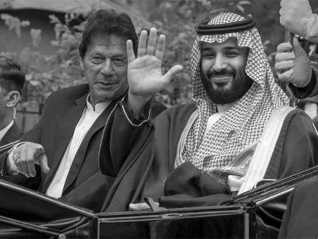 prime minister imran khan and mohammed bin salman during a welcome ceremony in islamabad photo afp