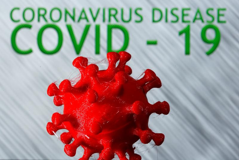 a 3d printed coronavirus model is seen in front of the words coronavirus disease covid 19 on display in this illustration taken march 25 2020 photo reuters