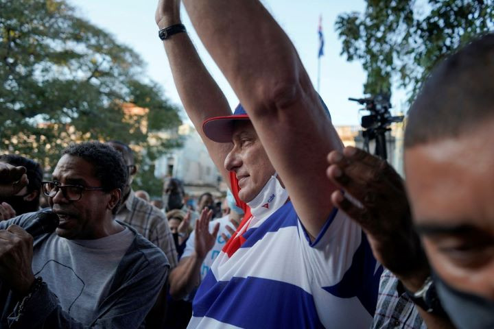 cuba s president miguel diaz canel takes part into a pro government rally in havana cuba november 29 2020 reuters