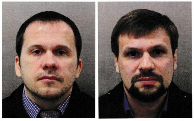 Two men using the aliases Alexander Petrov and Ruslan Boshirov formally accused in Britain of attempting to murder former Russian intelligence officer Sergei Skripal and his daughter Yulia in 2018 are seen in an image handed out by the Metropolitan Poli