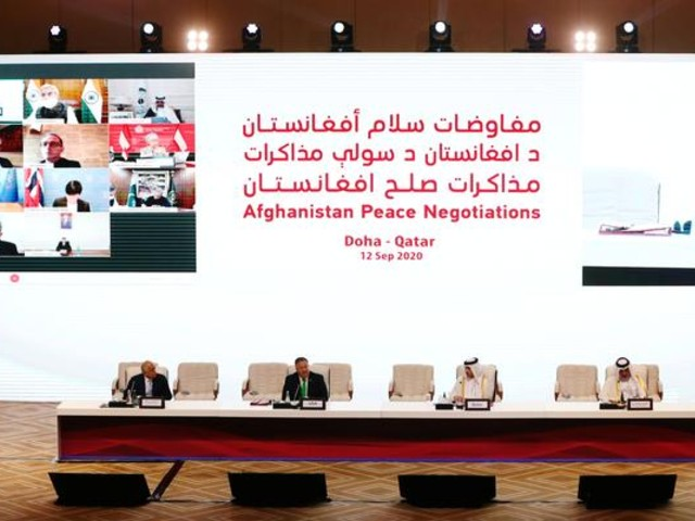 zalmay khalilzad us envoy for peace in afghanistan us secretary of state mike pompeo qatari deputy prime minister and minister of foreign affairs sheikh mohammed bin abdulrahman al thani and mutlaq al qahtani special envoy of the foreign minister of qatar are seen before talks between the afghan government and taliban insurgents in doha qatar september 12 2020 photo reuters