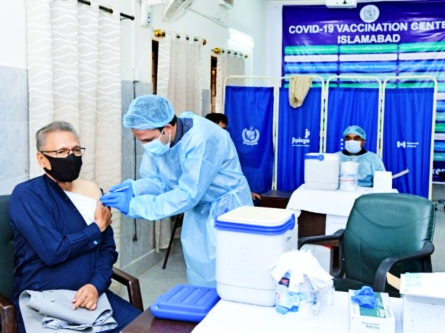 president arif alvi pictured getting the anti covid vaccine in islamabad on march 15 2020 photo app
