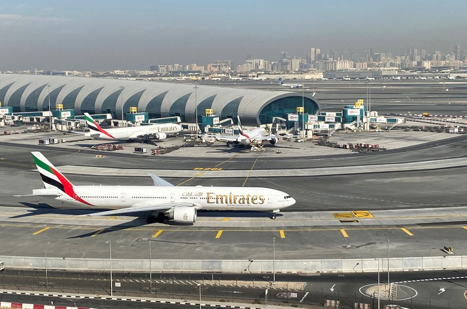 emirates airliners are seen on the tarmac in a general view of dubai international airport in dubai united arab emirates january 13 2021 photo reuters file
