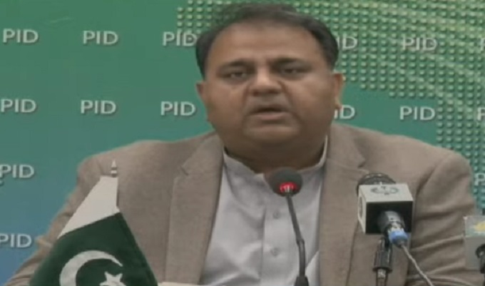 minister for science and technology fawad chaudhry addressing a press conference at the pid in islamabad on march 16 2021 screengrab