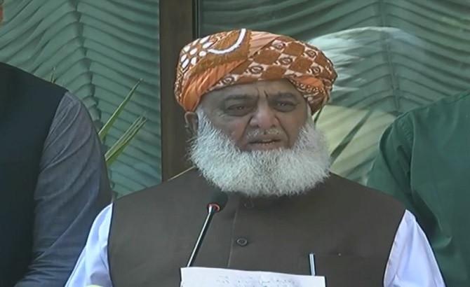 pakistan democratic movement pdm chief maulana fazl ur rehman addressing a presser in islamabad on april 13 2021 screengrab