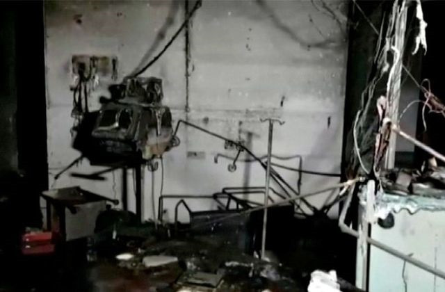 Damaged equipment and furniture are seen in the burnt interior of a hospital treating coronavirus disease (Covid-19) patients, after a deadly fire, in India's western Gujarat state, May 1, 2021, in this still image obtained from video. PHOTO: REUTERS