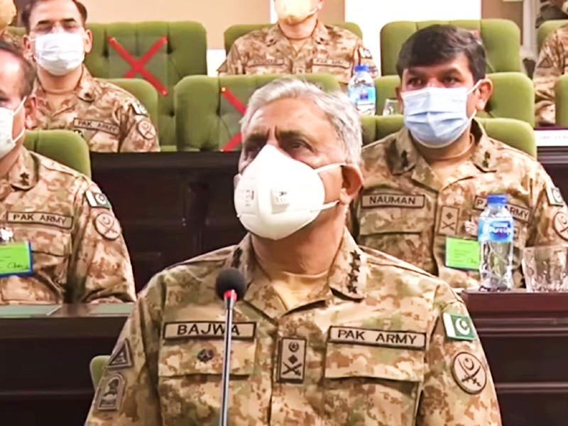 chief of army staff general qamar javed bajwa visits kharian garrison to attend the ongoing war game of the central command screengrab