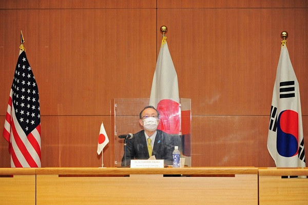 Takehiro Funakoshi, Director-General of the Asian and Oceanian Affairs Bureau at Japan's Foreign Ministry, attends a trilateral meeting between Japan, U.S., and South Korea, to discuss North Korea, in Tokyo, Japan, September 14, 2021. PHOTO: REUTERS