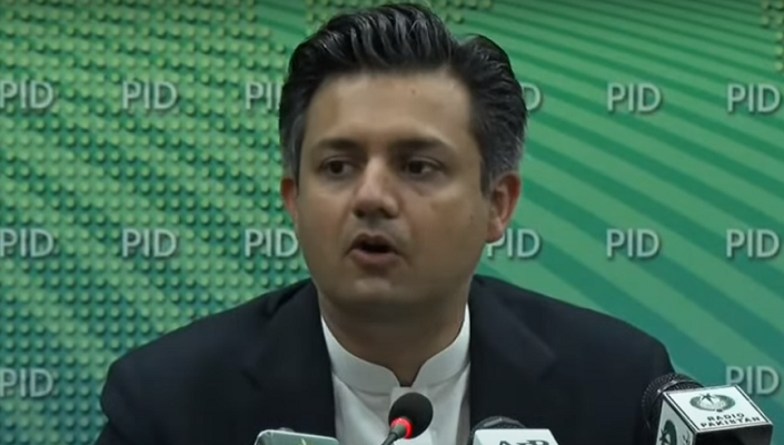 federal finance minister hammad azhar addressing a presser at the press information department pid in islamabad on march 31 2021 screengrab